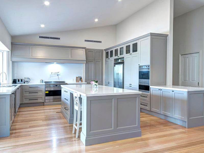 Highland Kitchens - A grey Hampton kitchen showing its coastal heritage
